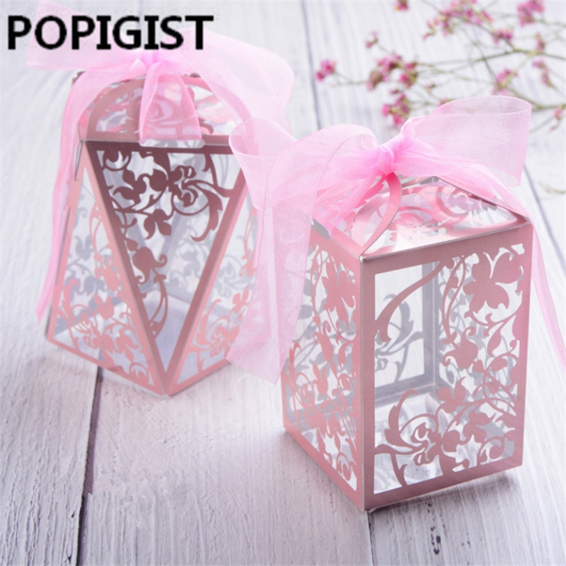 50pcs Party Wedding Favor Candy Boxes Baby Shower Gift Box DIY Creative Candy Box Romantic Mariage Plastic Box