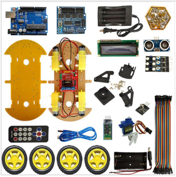 Multi-function Robot Car Kit Bluetooth Chassis Suit Tracking Compatible Uno R3 Diy Rc Electronic Toy Robot With Lcd1602 Electronic Components & Supplies Active Components