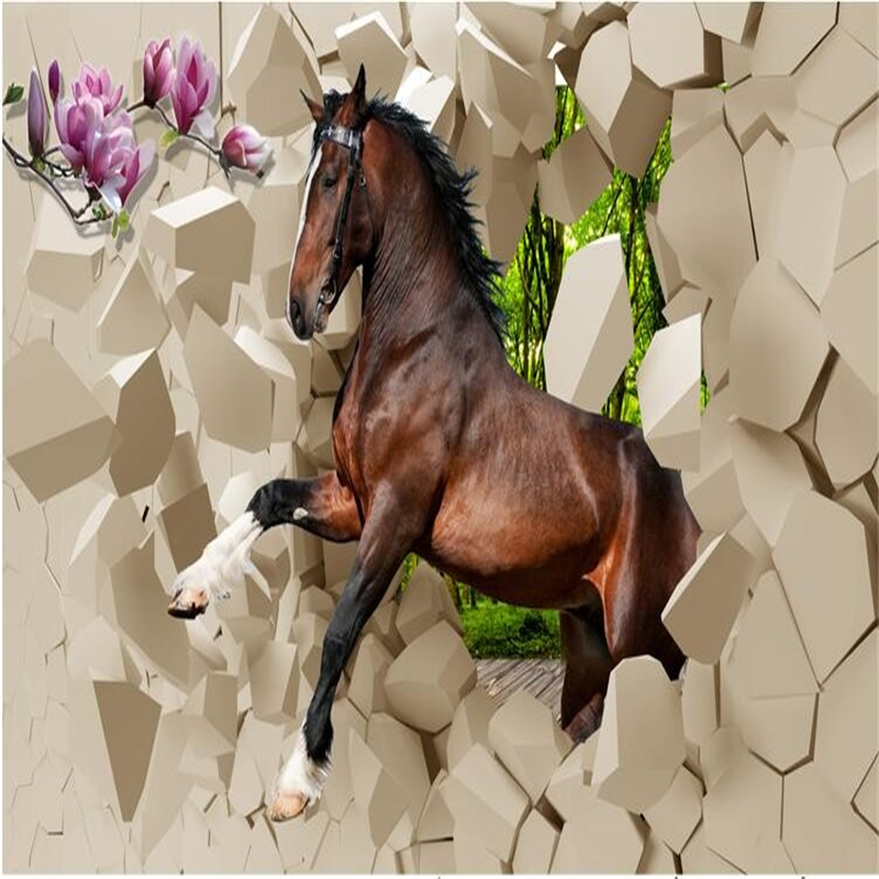 beibehang wallpaper for walls 3 d stereoscopic horses galloping room wallpaper for living room TV backdrop papel de parede 3d