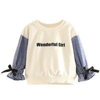 2018春の秋2-12歳赤ちゃん女の子素敵な弓のネクタイtシャツ子長袖スクールスタイル女の子ブラウスストライプニットトップ