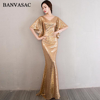 BANVASAC V Neck Elegant Gold Sequined Mermaid Long Evening Dresses 2018 Half Sleeve Backless Party Prom Gowns