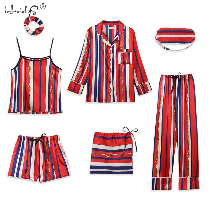 Stripe Printing Women's 7 Pieces Pajamas Sets Emulation Silk Satin Pajamas Women Sleepwear Sets Spring Summer Autumn Homewear