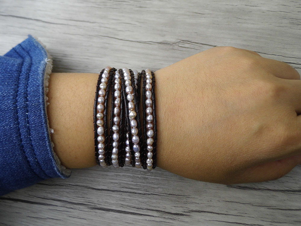 Boho 5 փաթեթավորեք ձեռնաշղթա գիպս Կաշվե - Նորաձև զարդեր - Լուսանկար 4