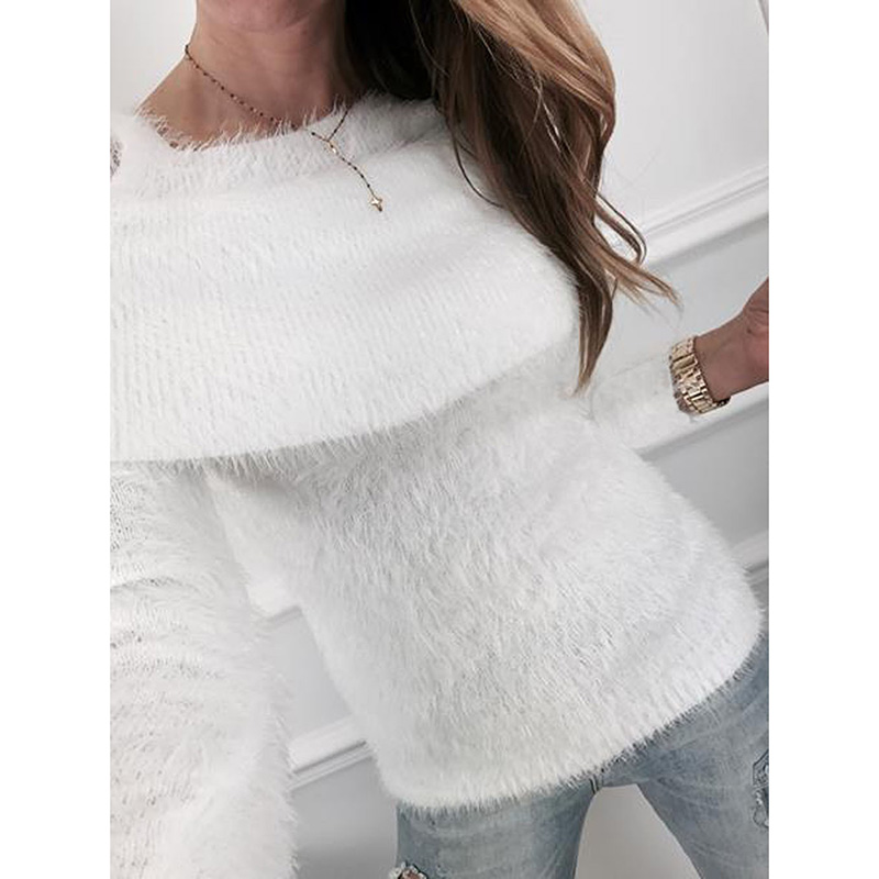 8545fbe12e1076 Fashion Winter Woman Sweater Plush Sweaters Open Shoulder Long Sleeves  Pullover 2018 Female Pullovers WS9887R-in Pullovers from Women s Clothing  on ...