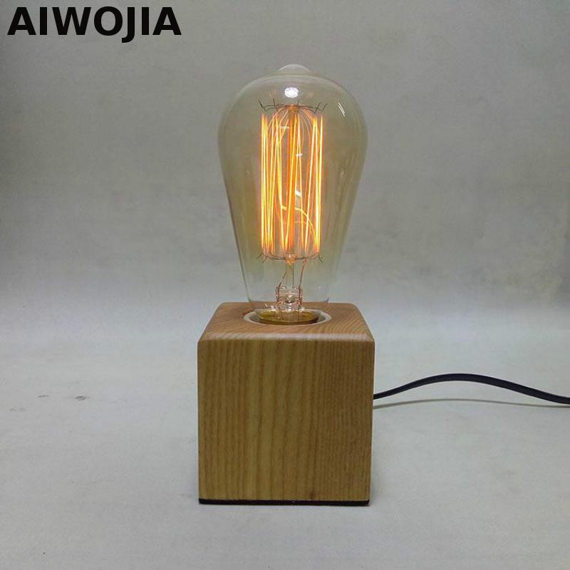 Vintage wooden edison table lamp wood for living room study cube creative desk lamp decorate for Wooden table lamps for living room