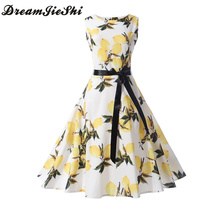 Dreamjieshi Summer women's clothing Fruit flower pattern Print Brief Vintage Dress Hepburn style Retro 60s Cocktail party dress