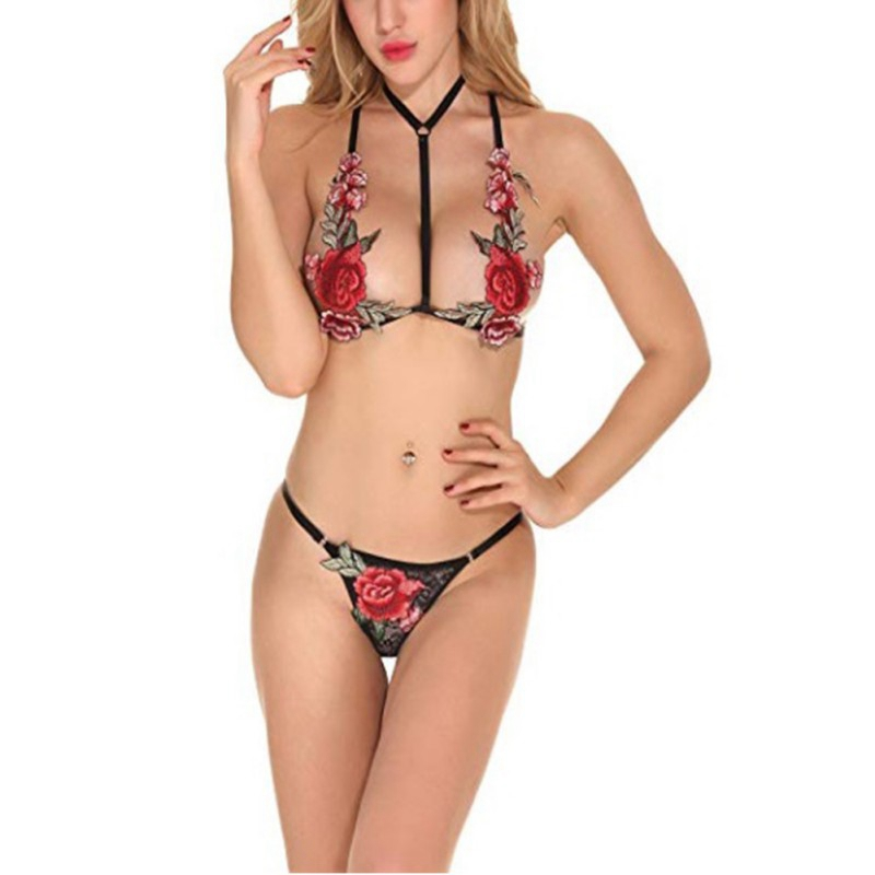 EFINNY Sexy Women Lingerie   Bras     Sets   Embroidered Floral Bandage Erotic Three Point Harness Perspective Underwear Suits