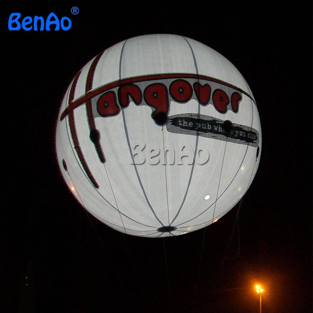 AO080 BENAO 3 m Inflatable Helium Balloon Giant White Custom Inflatable Ball with LED Lighting Balloon Logo Printing Decoration 2 5 giant pvc inflatable balloon sky balloon helium balloon free logo