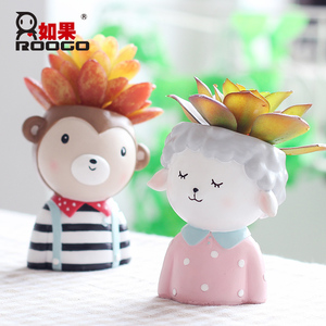 Image 2 - Roogo Cartoon ranch cute  animals shape small gift furniture decoration Bedroom study desktop flower pot planter