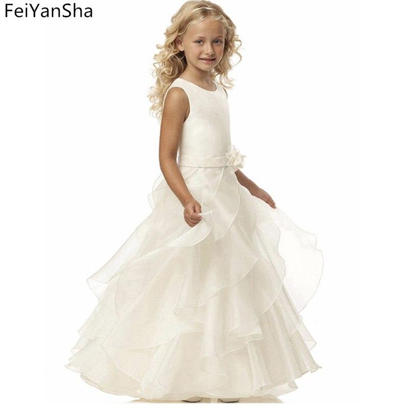 цена на Elegant Girl Dress Handmade Flower Belt Fisrt Communion Dress Ankle Length Ivory Zipper Simple Ruffle Flower Girl Dresses for We