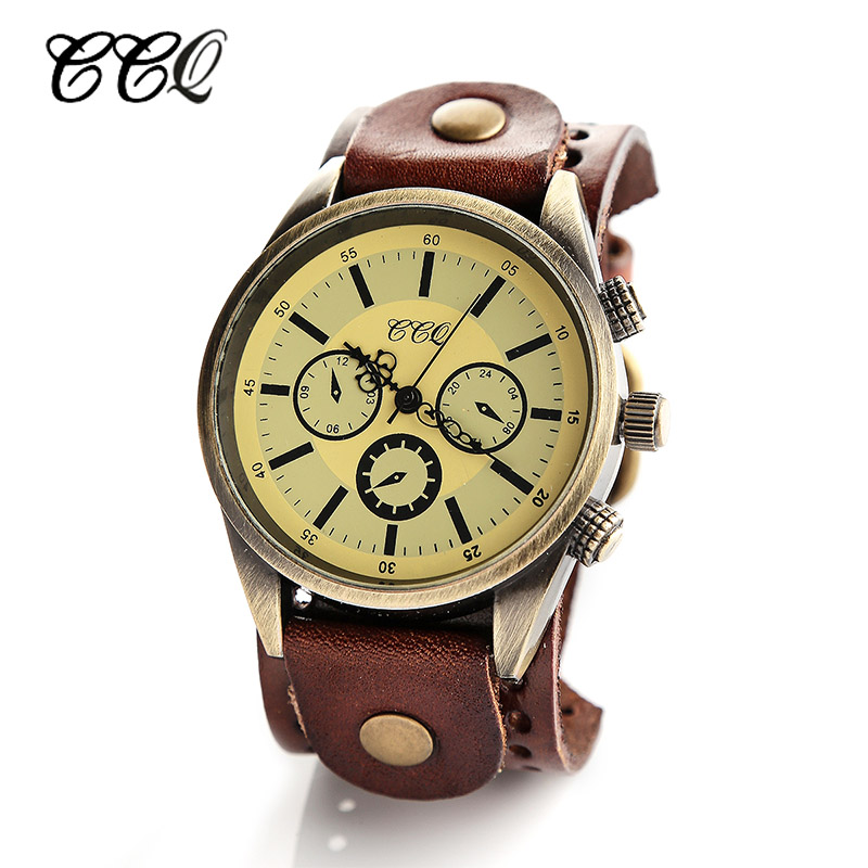 ccq brand vintage genuine leather wide band
