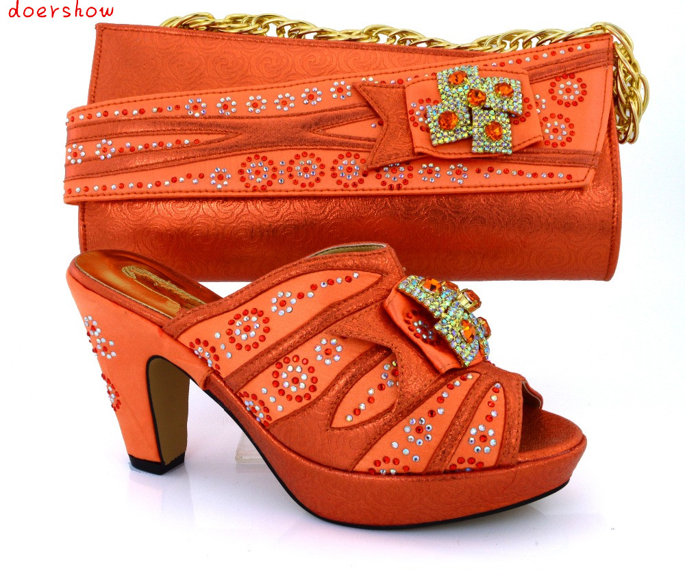doershow Fashion Women Italian Matching Shoe And Bags Set With Rhinestones High Quality African Wedding Shoes And Bag !HVB1-87 wholesale italian ladies matching shoes and bags set in yellow high quality fashion african women shoes matching bag set mm1026