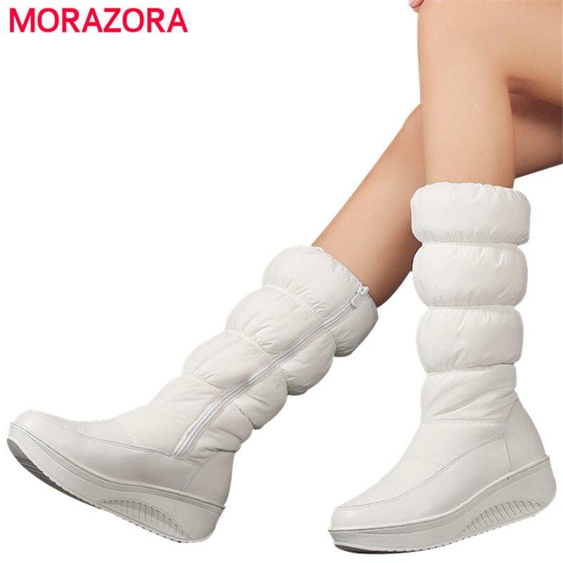 MORAZORA Plus größe 35-44 neue mode winter schnee stiefel plattform schuhe schuhe mitte wade frauen stiefel einfarbig zipper weiß