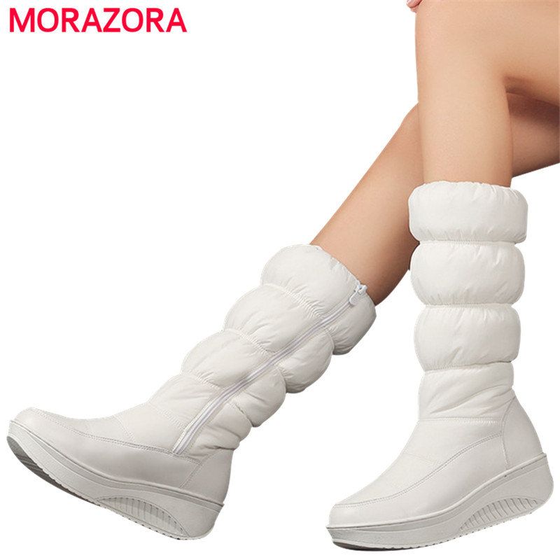 MORAZORA Plus size 35 44 new fashion winter snow boots platform shoes footwear mid calf women boots solid color zipper white