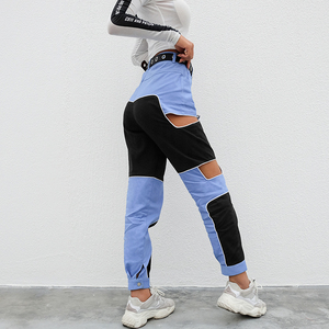 Image 4 - HEYounGIRL 하라주쿠 힙합 카고 바지 여성 중공업 하이 웨스트 바지 Streetwear Patchwork Sweatpants and Joggers Ladies