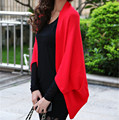 2016 de Moda de Nova Mulheres Casual Coréia Xale Solto Batwing Mangas Senhora Camisola de Malha Casaco De Lã Das Mulheres Casacos de Lã Casaco