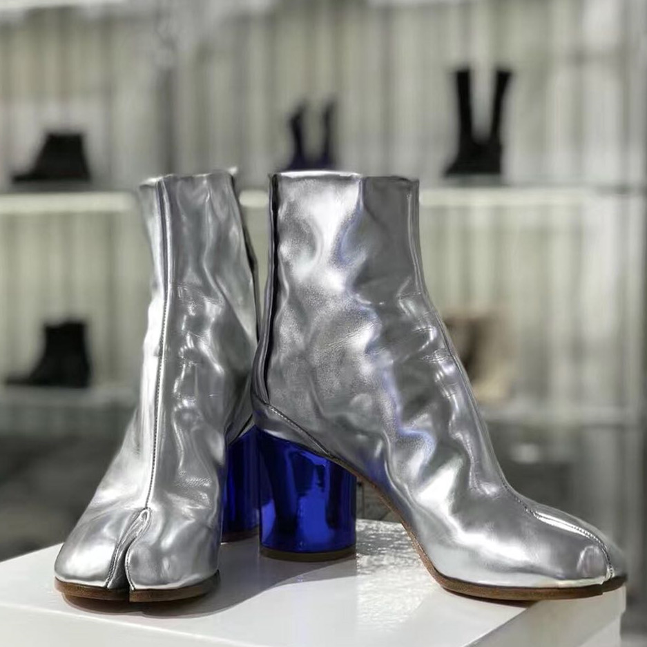 botines mujer 2018 Shoes Woman Leather Ankle Boots High Round Heels Split Toes Boots Woman bota feminina Retro zapatos de mujer