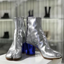 Botines mujer Mulher 2018 Sapatos Ankle Boots de Couro de Alta Botas de Salto Rodada Toes Split Mulher bota feminina Retro zapatos de mujer