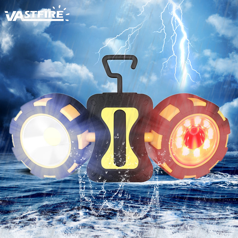 Dual Head Emergency Work Light with Rotating Magnetic Design 4 Modes Outdoor Camping Portable Lanterns 6AAA Battery