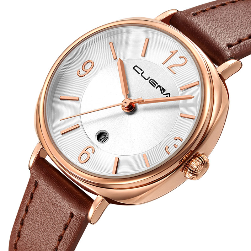 CUENA Brand Watches Women Fashion Luxury Watch Ladies Quartz Clock Leather Casual Relojes Mujer Montre Femme Relogio Feminino luxury brand fashion casual ladies watch women rhinestone watches dress rose gold quartz female clock montre femme relojes mujer