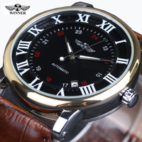 Winner Mechanical Black HIgh Quality Leather Calendar Automatic Watch Clock Men Sports Watches Male Relogio Masculino