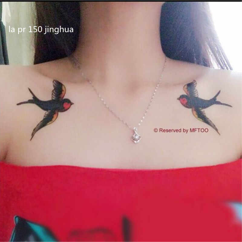 Tattoo affixed double birds swallows clavicle waterproof sexy personality lasting