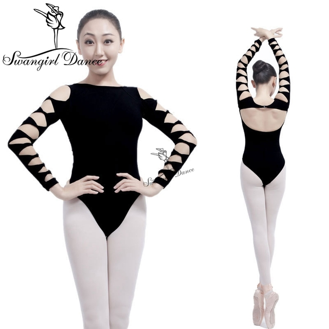 8fb507ff854c Sexy Backless Adult Girl Black 3 4 Long Sleeve Ballet Dance Practice ...