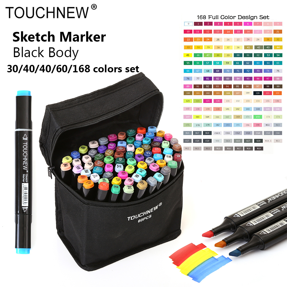 Touchnew Marker 30/40/60/80 Colo Artist Painting Manga Marker Set Best For Dual Headed Graffit Sketch Alcohol Based Brush Marker w110148 30 40 colors artist double headed manga brush markers alcohol sketch marker marker for design and artists
