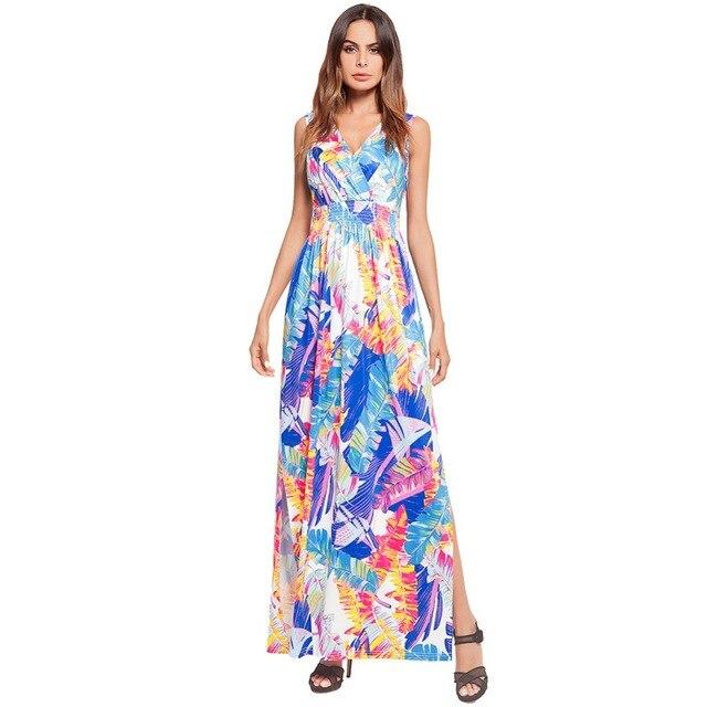 2018 Deep V-Neck Banana Leaf Sexy Women Long Summer Beach Dress Sleeveless  Casual Sundresses 579e93590de9