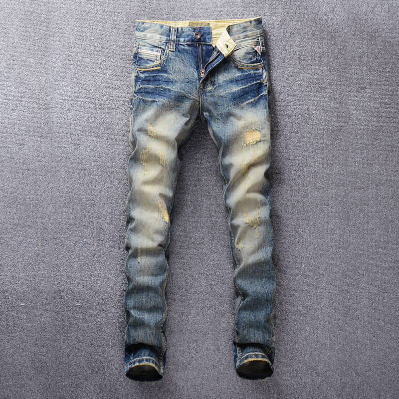 Fashion Streetwear Men Jeans Slim Fit Destroyed Ripped Jeans For Men Vintage Design Patch Embroidery Classical Jeans Denim Pants