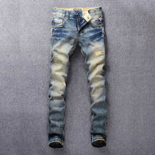Fashion Streetwear Men Jeans Slim Fit Destroyed Ripped Jeans For Men Vintage Design Patch Embroidery Classical Jeans Denim Pants newsosoo fashion men streetwear ripped jeans pants personality distressed patch denim trousers multi zippers patterns embroidery