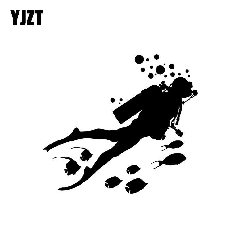 YJZT 16.7*15CM One Diving Man And Fish Car Sticker Vinyl Car Styling Decal Accessories Decoration Black/Silver C12-0685