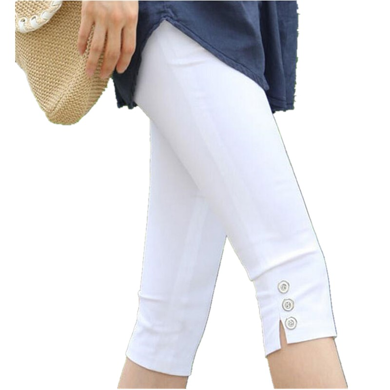2019 Summer Women Elastic Waist   Pants     Capris   Female Thin Plus Size Knee-Length White   Pants     Capris   Pencil   Pants   Women