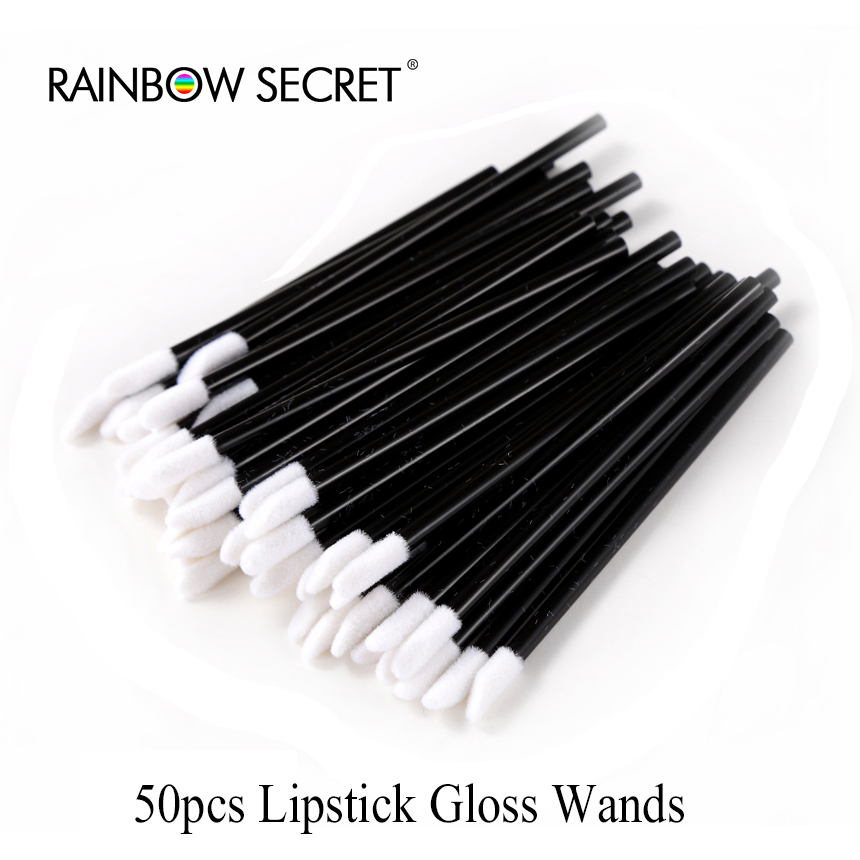 50Pcs Makeup Brushes Lipstick Gloss Wands Glad Lash Cosmetic Eyelash Extension Mascara Wand Disposable lips Brush Make Up Tools ...