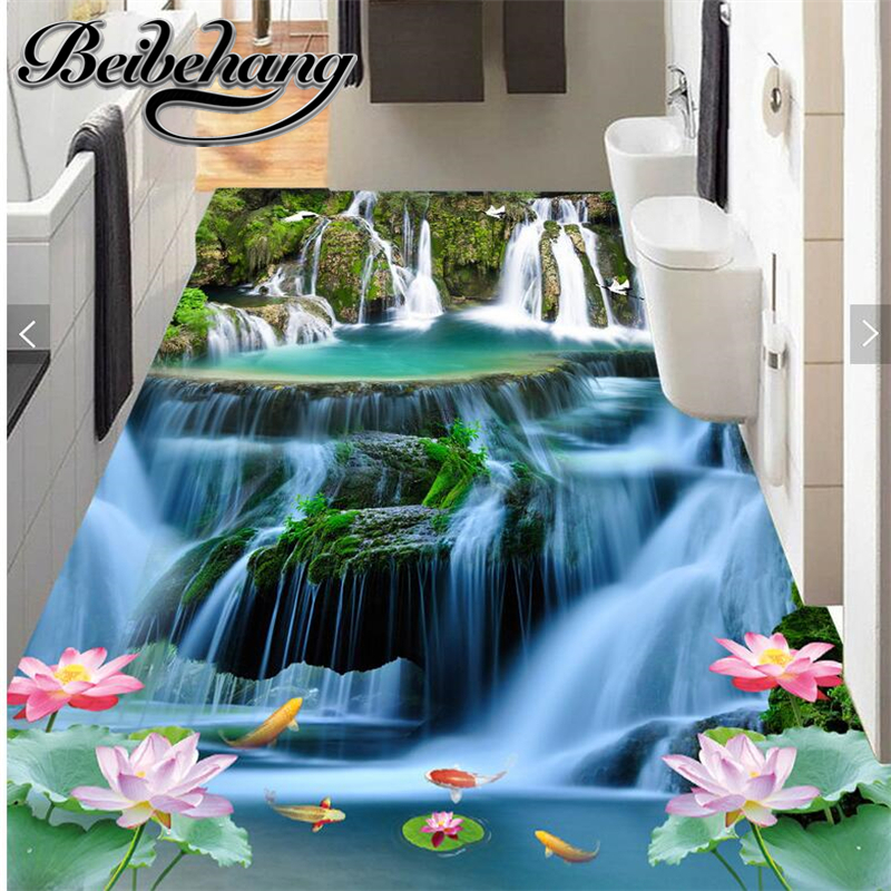 beibehang custom living room in accordance  width of the length of the carp lotus waterfall water bath kitchen 3d 3D painting bride of the water god v 3