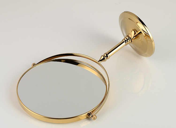 Espejos de baño espejo de pared redondo de 8 pulgadas espejo de aumento de mesa maquillaje cosmético dorado espejo de latón doble cara para baño 728K