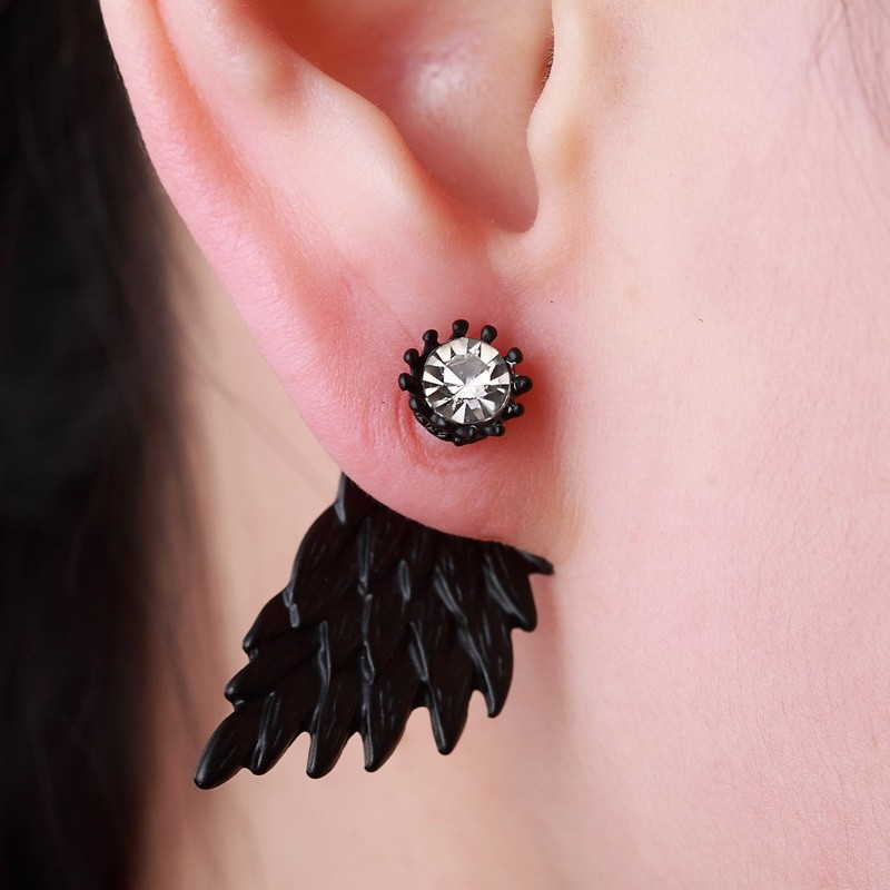 Black Gold Silver Plated Gothic Angel Wings Rhinestone Alloy Stud Earrings 4