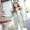 2016 Girls Down Jacket Winter Long Coats Children Outerwear Coats Fashion Raccoon Fur Collar Thick Warm Overcoat 130-160 DQ166