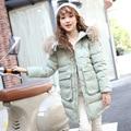2016 Meninas Para Baixo Casaco de Inverno Casacos Longos Casacos Crianças Coats Moda Gola de Pele De Guaxinim Grosso Casaco Quente 130-160 DQ166