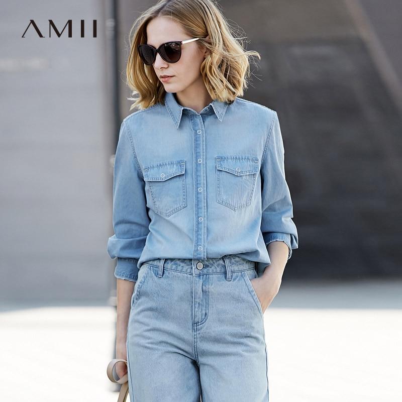 Amii Minimalist Women 2019 Spring   Blouse   100% Cotton Denim Turn-down Collar Female   Blouses     Shirts
