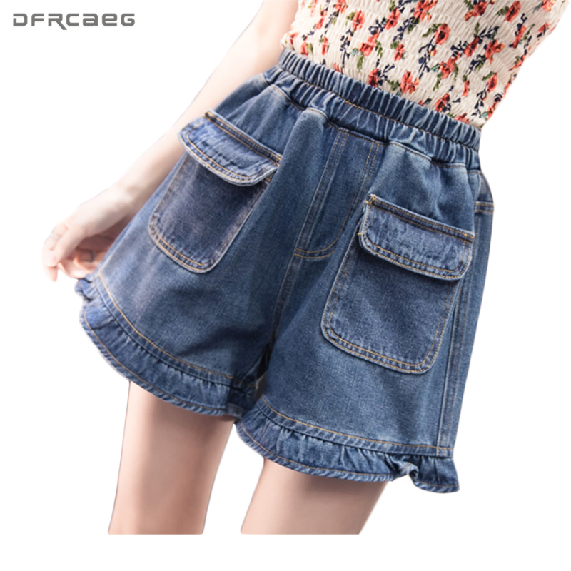 Hot Vintage Stretch High Waist   Shorts   2018 Summer Slim Show Thin Streetwear Denim   Shorts   Women Ruffles Pockets   Short   jeans Femme