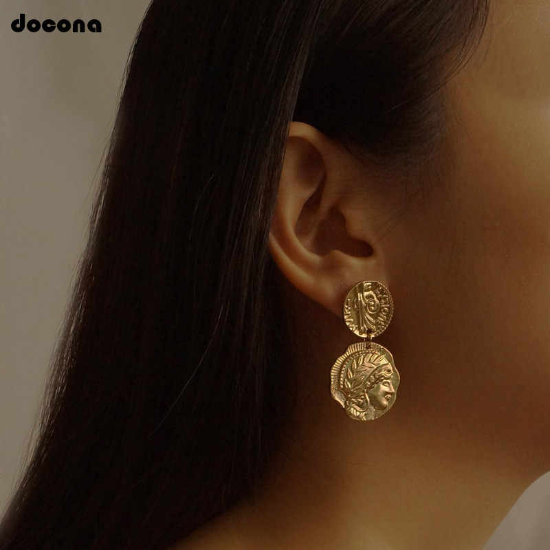 docona Vintage  Engraved Coin Drop Dangle Earrings for Women Figure Face Long Round Pendant Earring Pendientes 4897