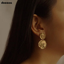 docona Vintage Engraved Coin Drop Dangle Earrings for Women Figure Face Long Round Pendant Earring Pendientes 4897(China)