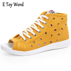 E toy word summer breathable canvas shoes female korean version 2017 casual flat bottom fish mouth.jpg 250x250