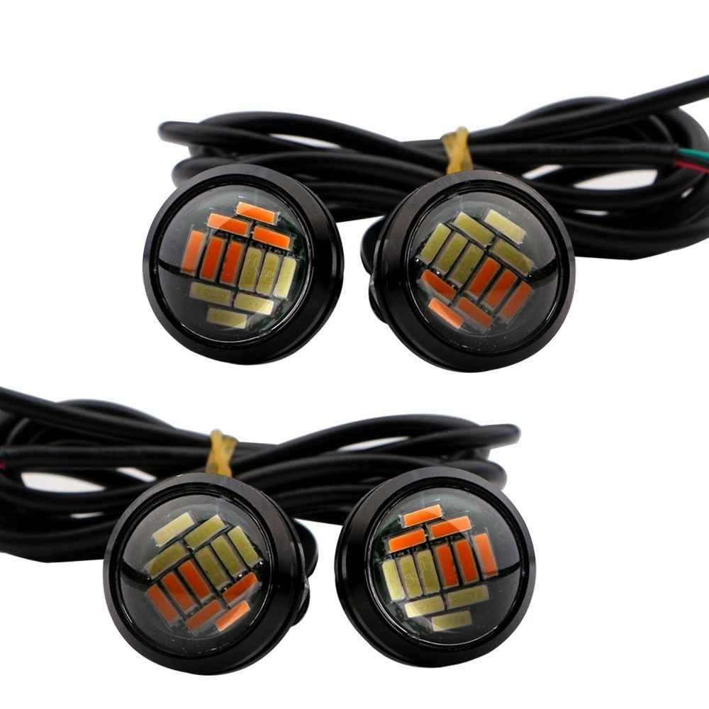 2 Pcs 12V 23Mm Warna Ganda Switchback 4014 12 Led Drl Eagle Eye Siang Hari Lampu