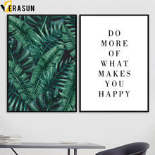 VERASUN Leaf Letter Nordic Posters And Prints Wall Painting Canvas Art Flower Pictures For Living Room Quadro
