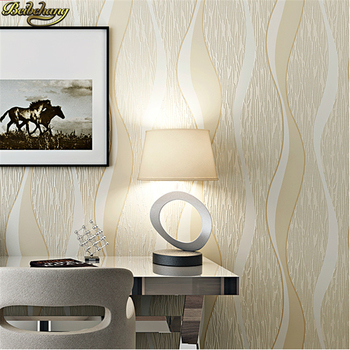цена на beibehang of wall paper mural Modern Simple Wave Wallpaper Non-Woven Striped Wallpaper Roll papel parede wall paper