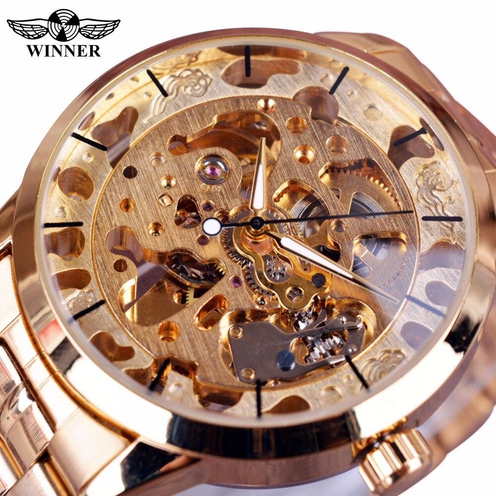 3f13beabecc2 Ganador moda Casual relojes de hombre Top marca de lujo reloj automático  esqueleto reloj hombres Montre Homme reloj de los hombres relojes de oro