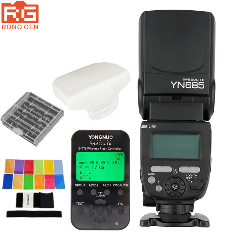 YONGNUO YN685 YN-685 (YN-568EX II Upgraded Version) Wireless HSS TTL Flash Speedlite for Canon + YN622C-TX + Filter + DiffuserYONGNUO YN685 YN-685 (YN-568EX II Upgraded Version) Wireless HSS TTL Flash Speedlite for Canon + YN622C-TX + Filter + Diffuser
