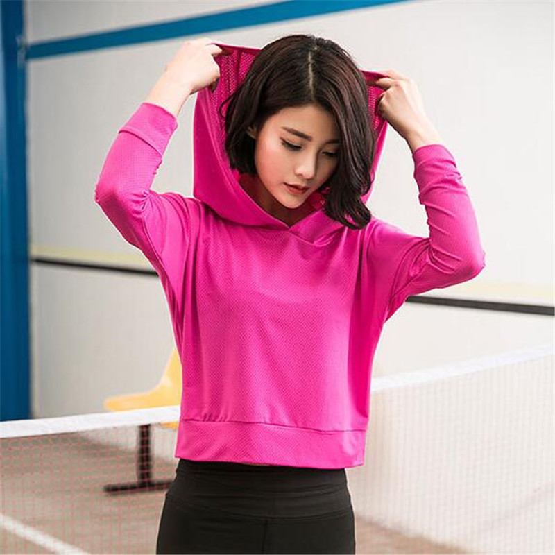 200p Women&Girls Short Style Hooded Pullovers Breathable Mesh Elastic Quick-dry Wicking Fitness Sexy Waistline Sweatshirts Tops